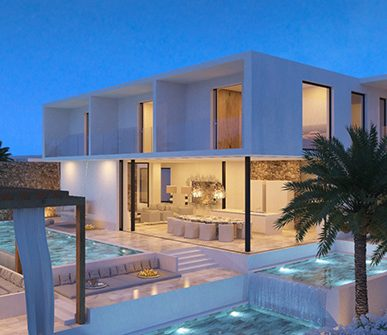 Design villa with Infinity Pool at night