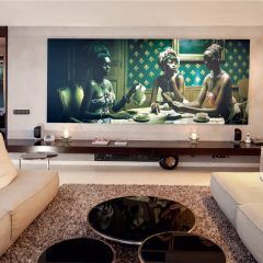 Living room with art in Ibiza