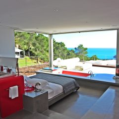 Open bedroom in villa in Ibiza