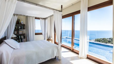 Wonderful bedroom with sea view luxury villa in Ibiza