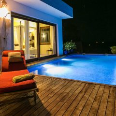 Villa and pool at night Ibiza Roca Llisa rent