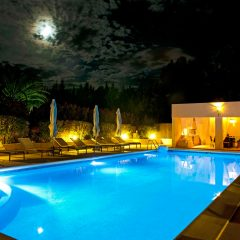 Pool view at night San Rafael Ibiza Villa