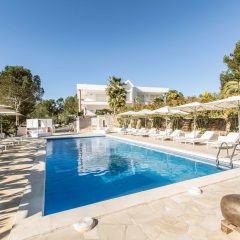 Pool Area with sun loungers Ibiza Villa San Rafael