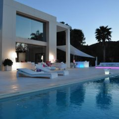 Pool view at night Ibiza Villa