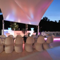 Outdoor dining area with beautiful lights in Ibiza rent