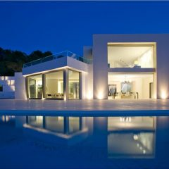 View at night Villa San Josep Luxury Design with pool rent