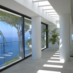Living room with breathtaking Seaview Ibiza Villa to rent