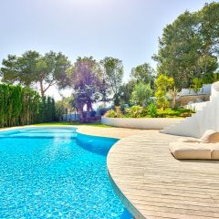 Huge pool area in Ibiza Talamanca villa to rent summer