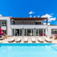 Es Torrent Ibiza Villa Pool with sun loungers view