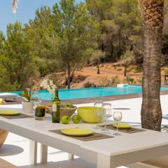 Dining by the pool Ibiza Villa to rent