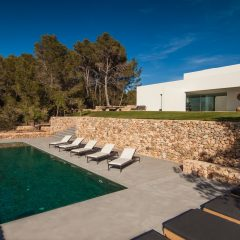 Pool area amazing villa Ibiza to rent