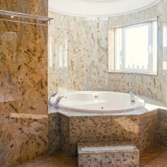 Whirlpool Jacuzzi in marble bathroom