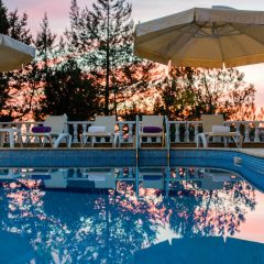Beautiful pool at the evening with reflections in Jesus Ibiza