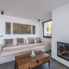 Chilloutarea with Chimney Ibiza Villa to rent