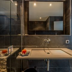 ultramodern Bathroom in grey in Roca Llisa Ibiza Villa to rent
