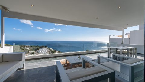 Living room and huge Terrasse with Sea View Ibiza Villa Roca Llisa to rent